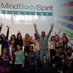Lynette Mitchell leading the laughter sesison at the Mind Body Spirit Festival on 19 November 2016.