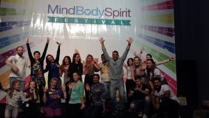 Lynette Mitchell leading the laughter sesison at the Mind Body Spirit Festival on 19 November 2016.