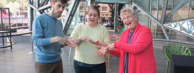 Laughter with Lynette at Fed Square